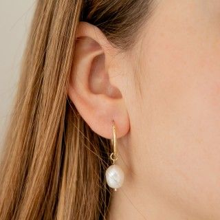 Silver hoops with iregular pearl 5609232407301