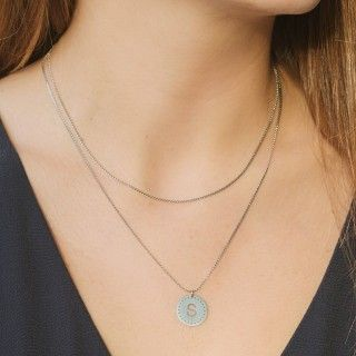 Stainless steel necklace with letter M 5600499146316