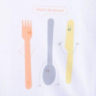 T-shirt manga curta bebé algodão orgânico O que é o jantar? 5609232425152