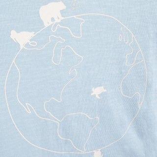 T-shirt manga curta menino algodão orgânico Olá mundo 5609232427842