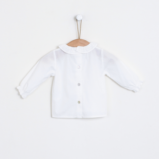 Baby blouse ribbed collar