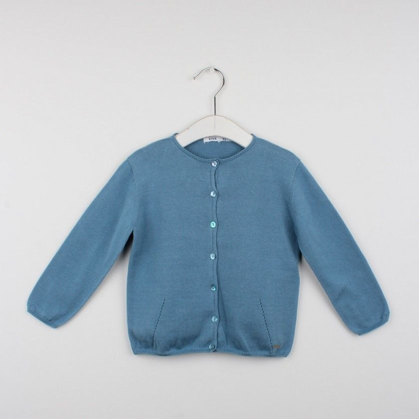 Rounded neckline knitted cardigan