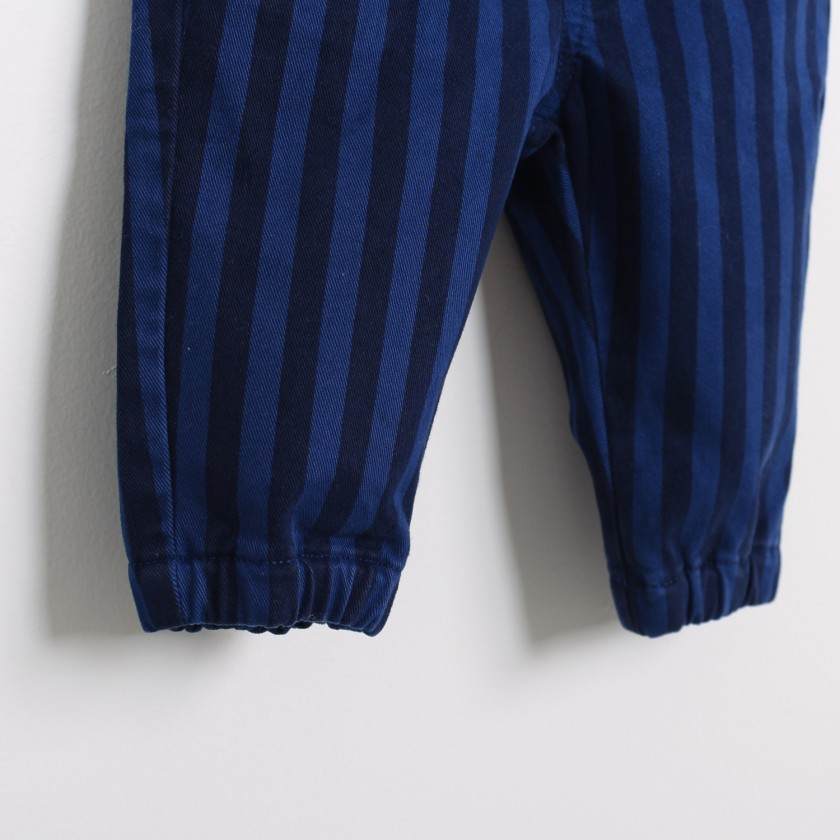 Striped pants with elastic waist