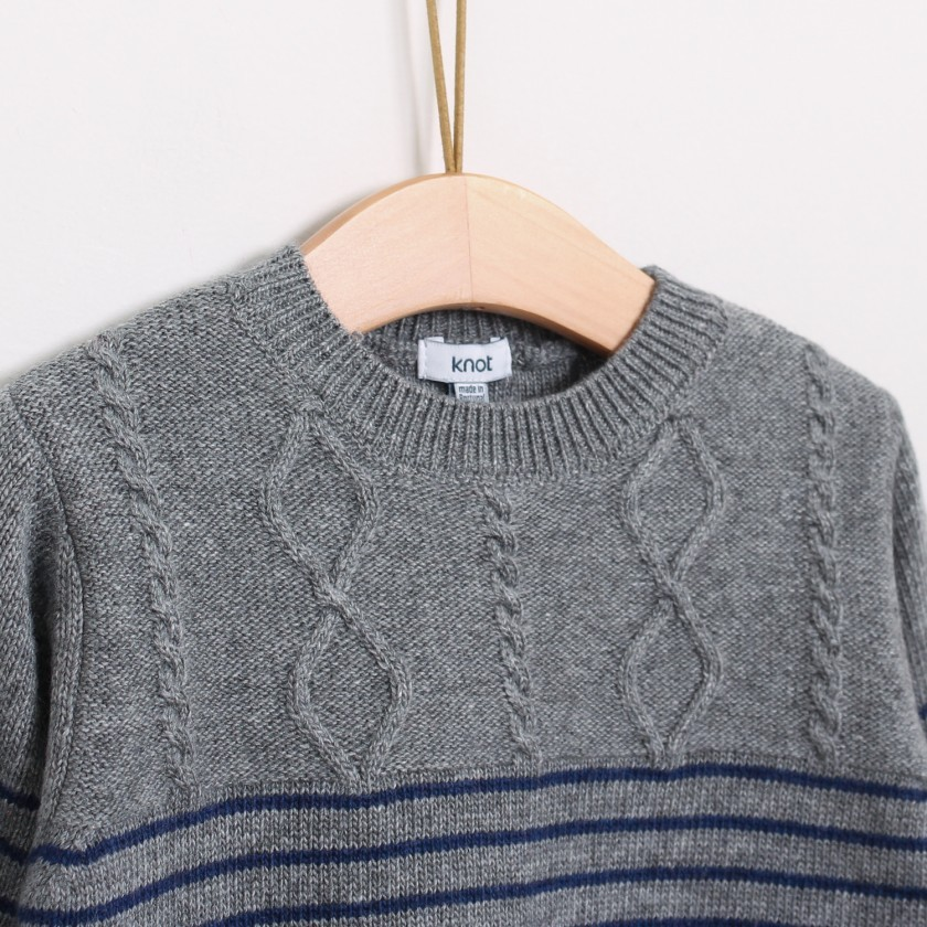 Stripped cable sweater