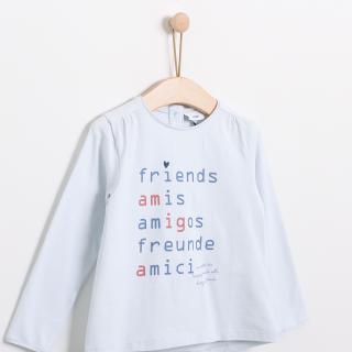 T-shirt manga comprida menina algodão Amigos
