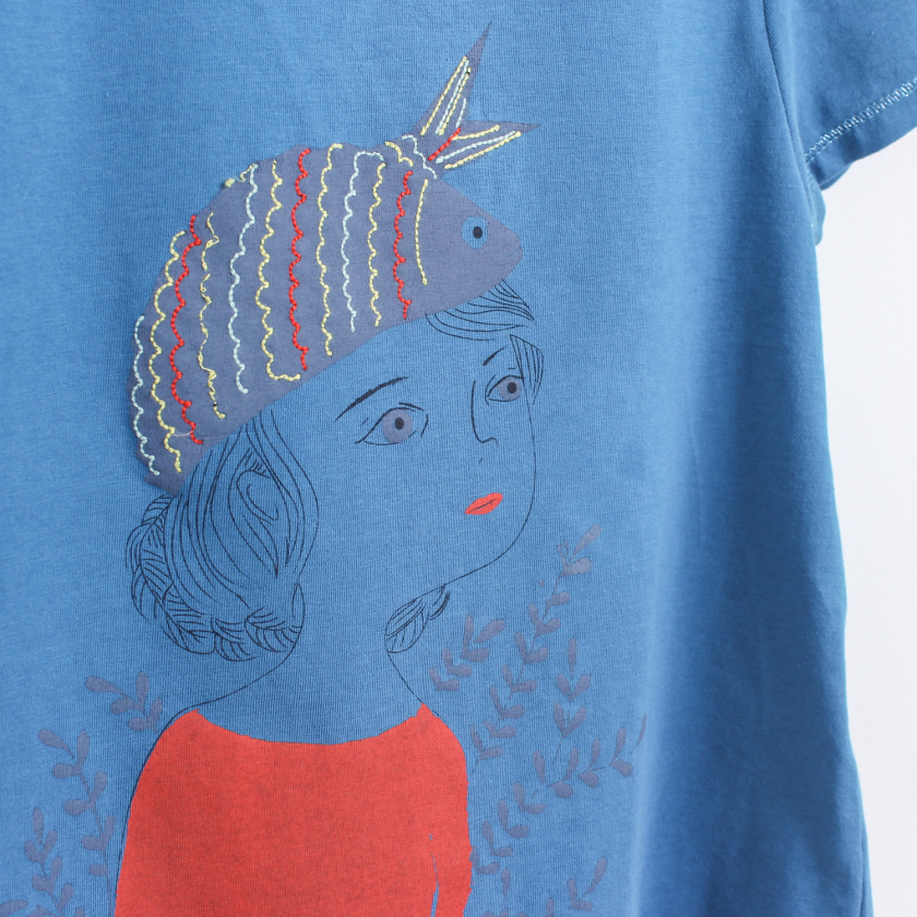 Girl with sardine hat t-shirt