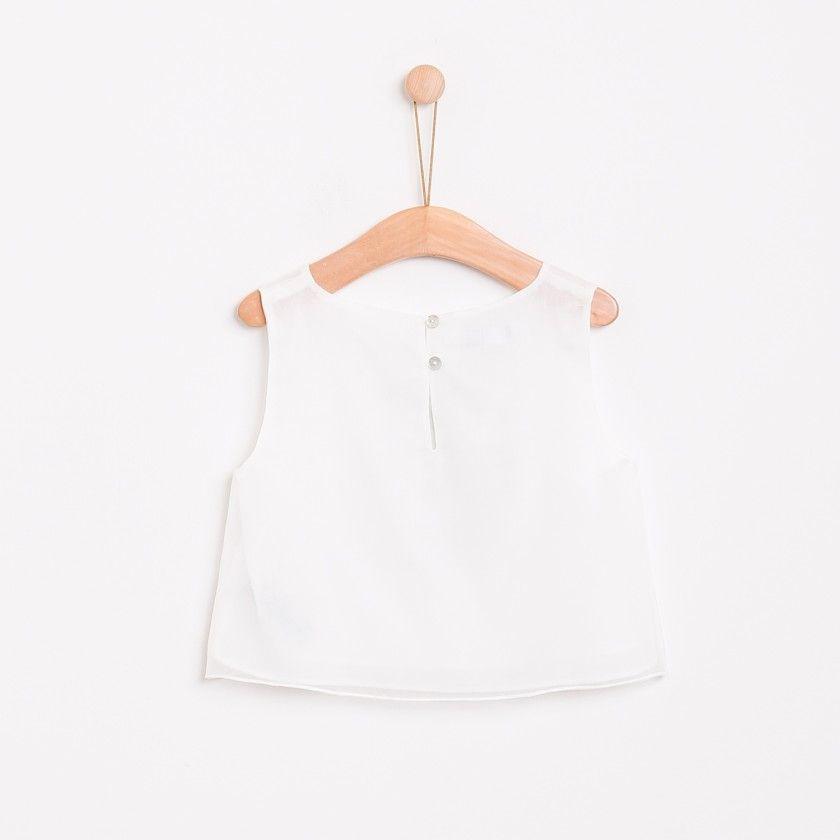 Blusa organza bordada