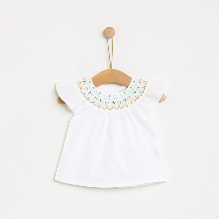 Blouse with geometric embroidery