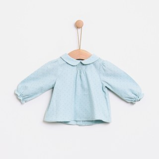 Blouse baby cotton Ether Blue Dots