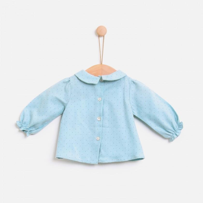 Blusa bebé algodão Ether Blue Dots