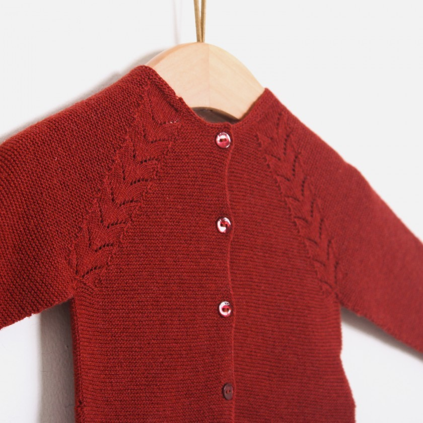 Casaco tricot folhas