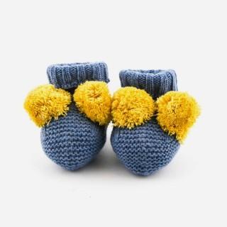 Botas tricot c/ pom-pons