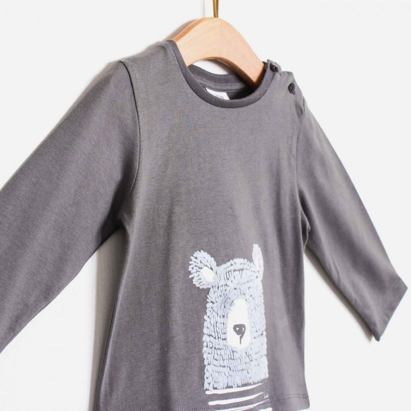 T-shirt urso c/ textura