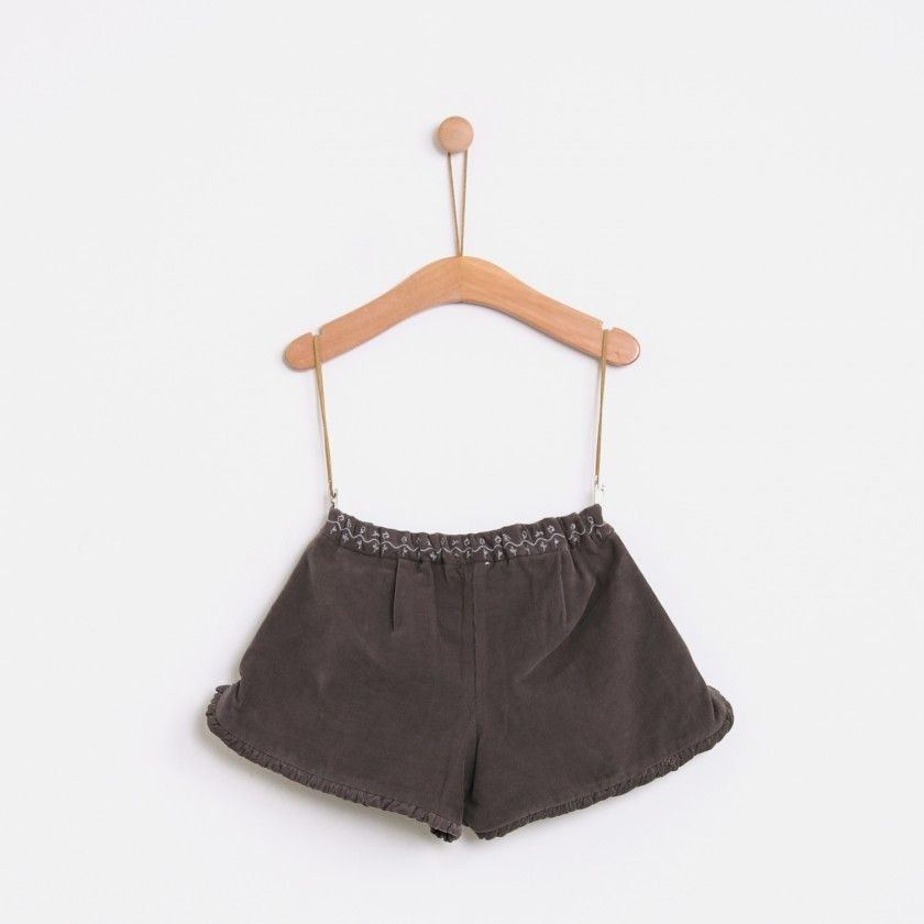 Corduroy shorts embroided flowers
