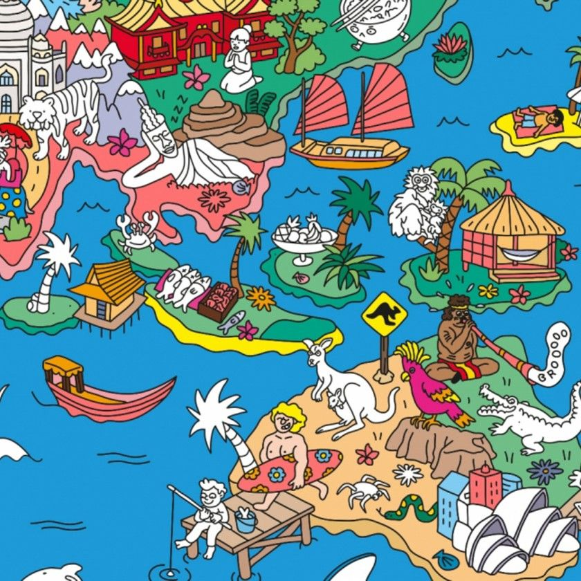 Poster com Autocolantes Omy Atlas