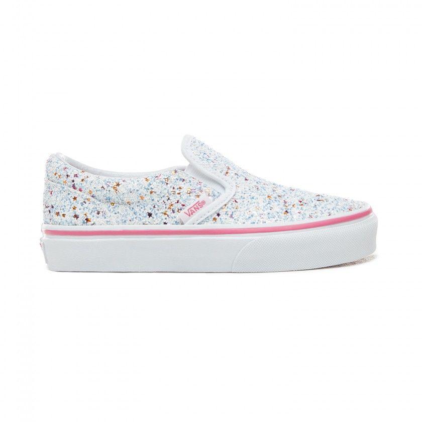 Ténis Vans classic slip-on glitter estrelinhas