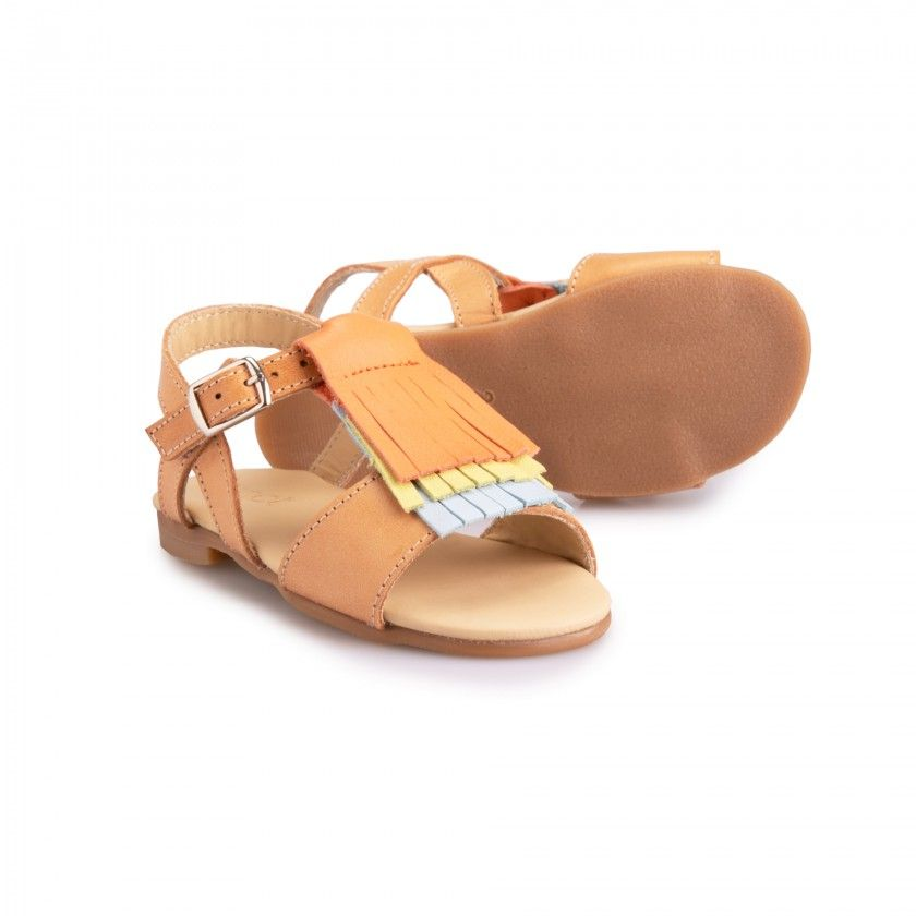 Leather Sandals with crossed details