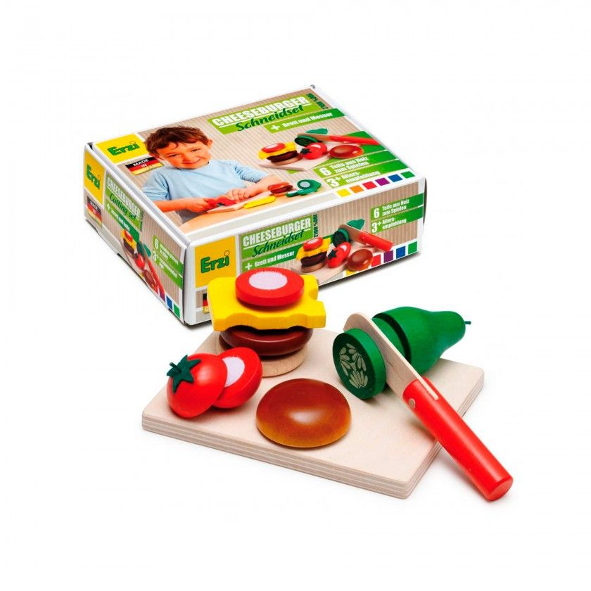 Beech Wood Erzi Cheeseburger Cutting Set
