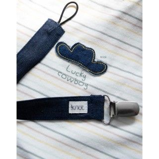 Denim pacifier strap