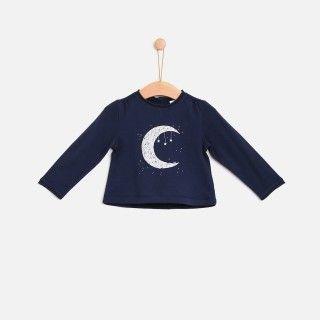 T-shirt manga comprida bebé algodão Lua