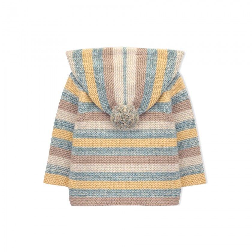 Casaco bebé tricot capuz cooper