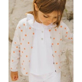 Polka dots knitted girl cardigan
