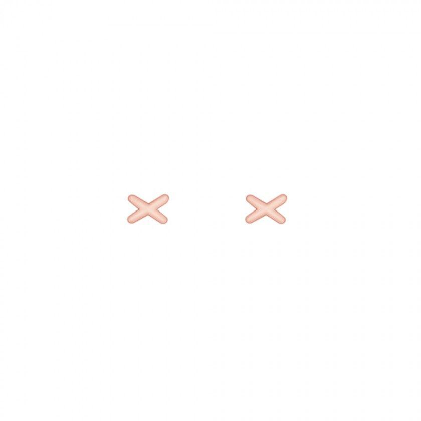 Brincos em prata cruz dourado rosa