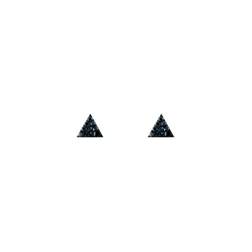 Brincos de prata triângulos pretos