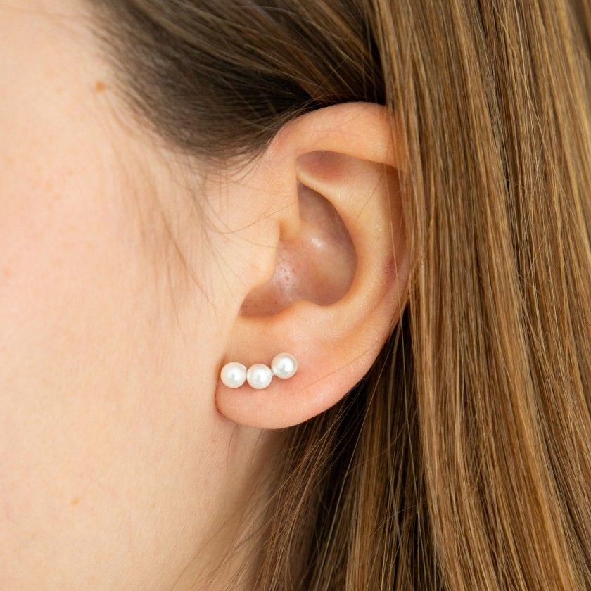 Simple Three Half Round Pearl Sterling Silver  Earrings