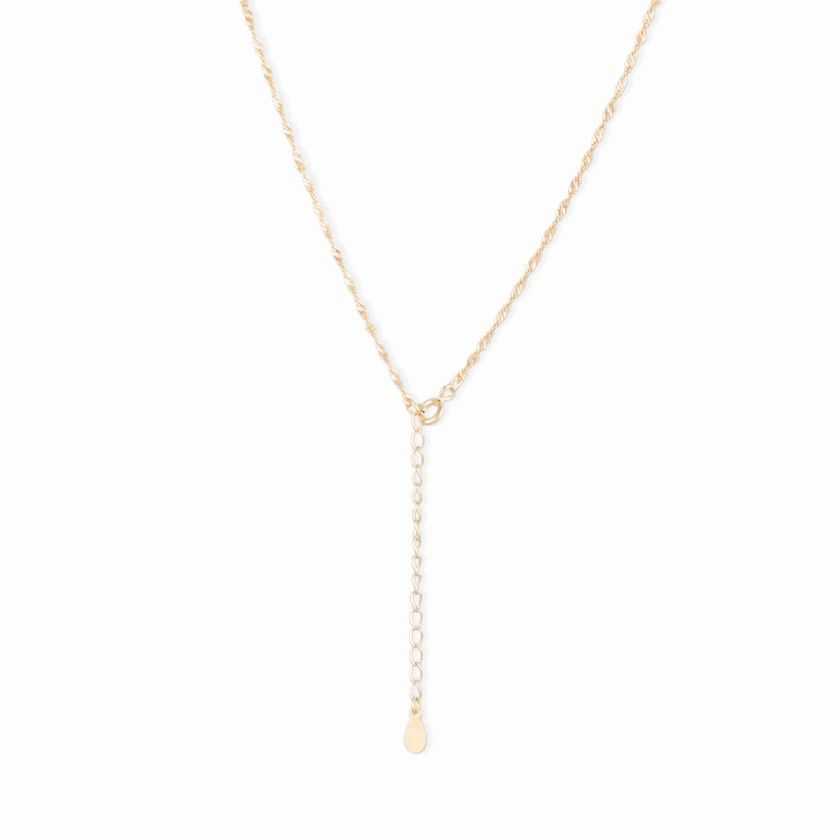 Golden silver necklace with irregular pearl