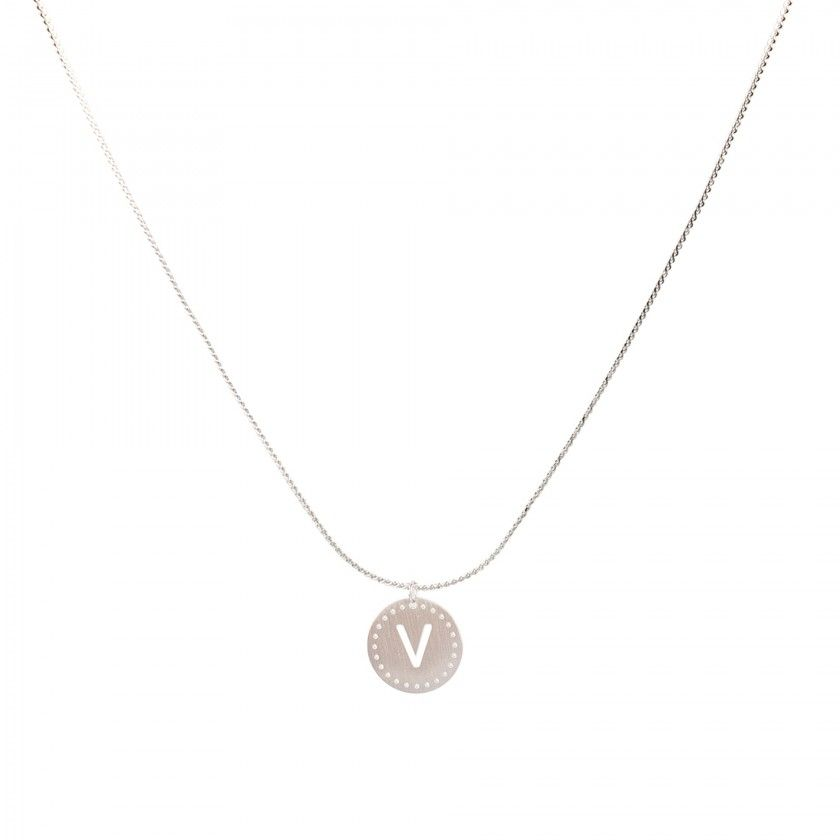 Stainless steel necklace with letter V