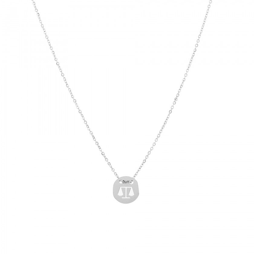 Stainless steel libra silver necklace