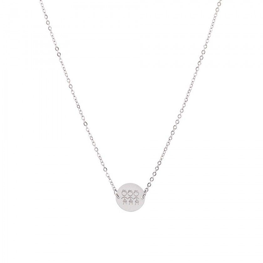 3 girls mum steel necklace