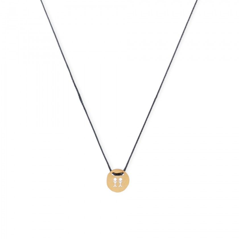 Cord necklace with golden gemini