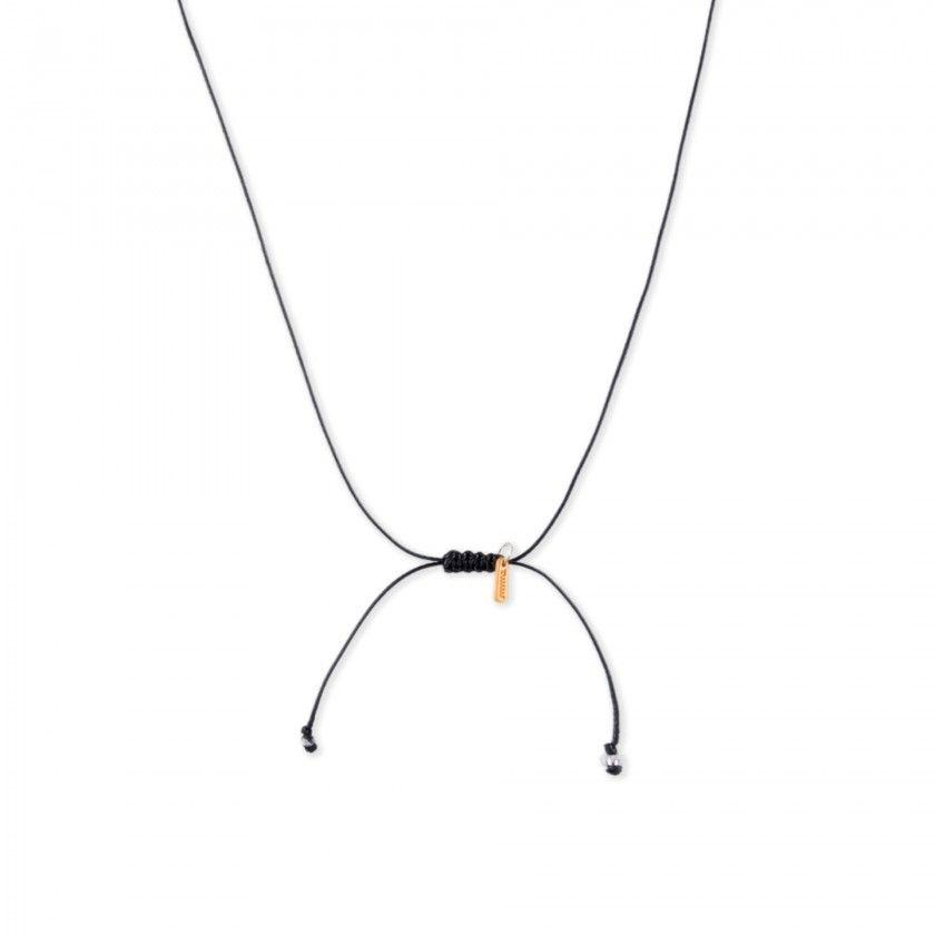 Cord necklace with silver aquarius