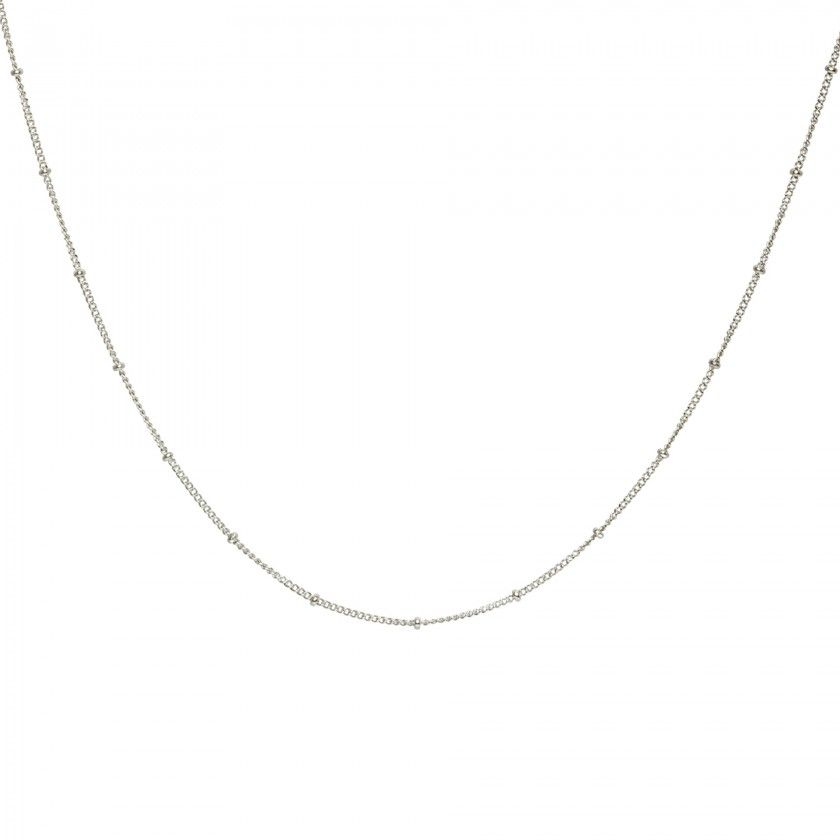 Silver stainless steel chain necklace with small balls
