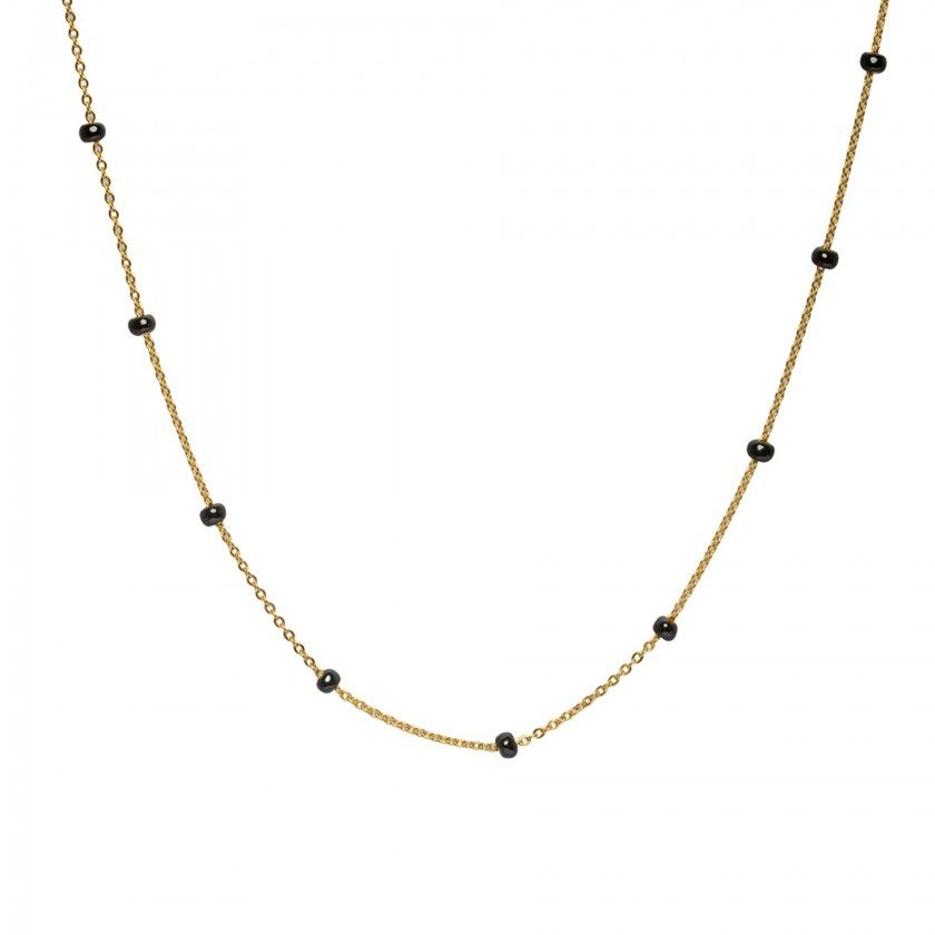 Golden stainless steel necklace with large black beads