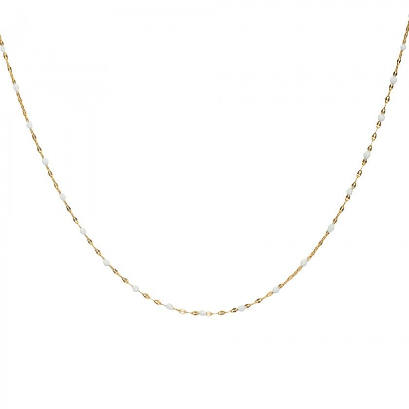 Golden stainless steel necklace with small white beads