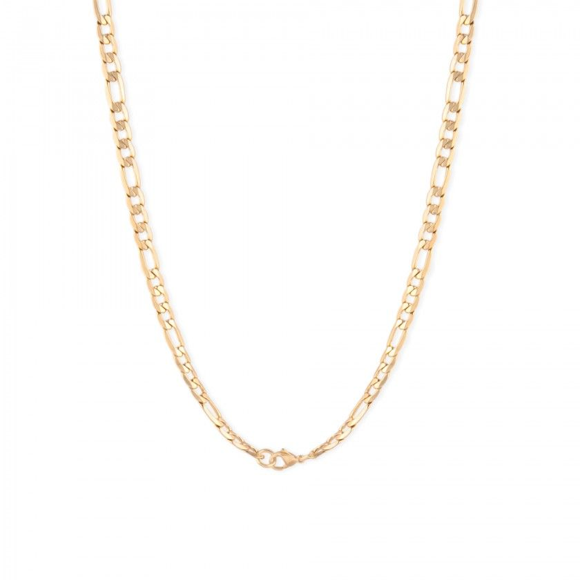 Large gold links chain necklace in stainless steel