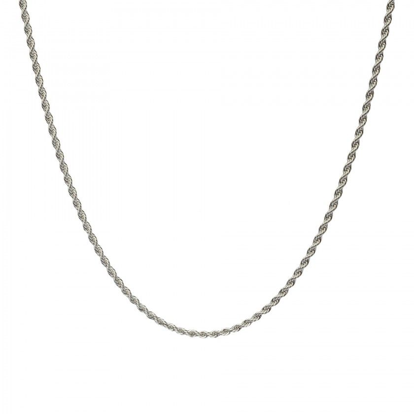 Silver twisted chain necklace in stainless steel