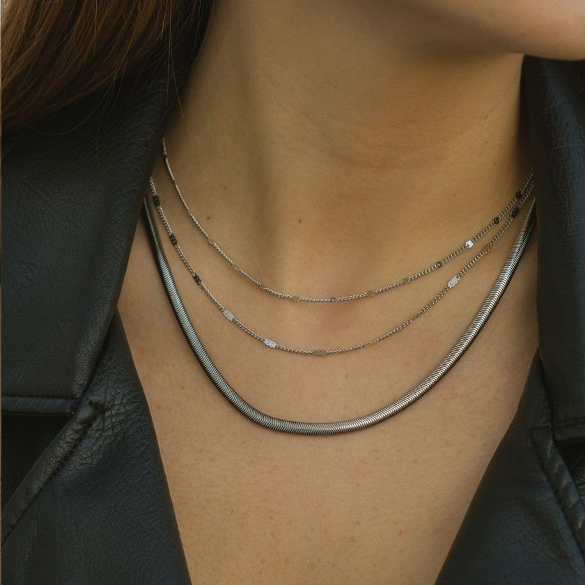 Silver stainless steel necklace with crushed chain