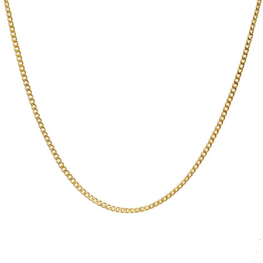 Golden fine braided chain necklace in stainless steel