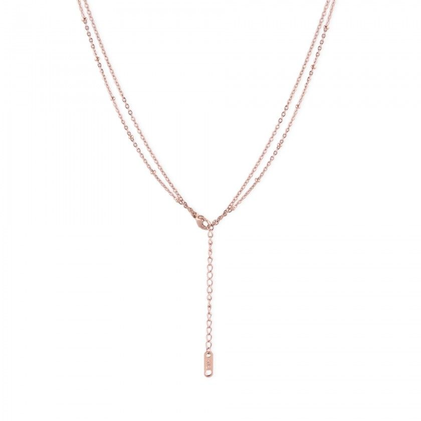 Double rose gold stainless steel necklace with flat iron pendants