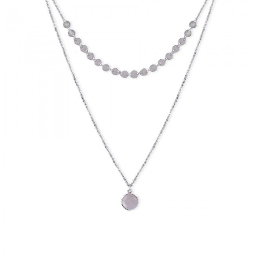 Necklace in silver 925 double flat plates and round pendant