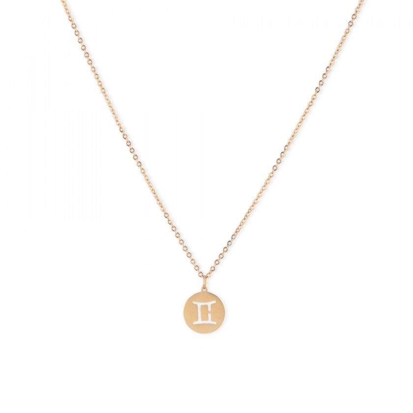 Gemini stainless steel necklace golden