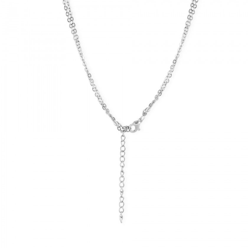 Double silver stainless steel necklace