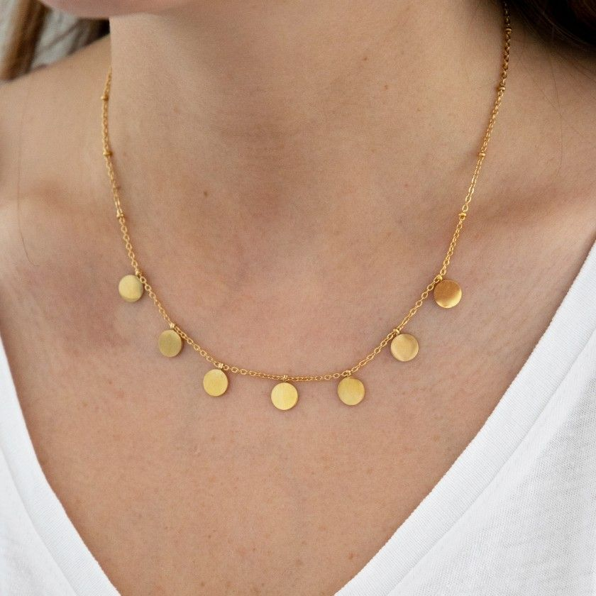 Golden stainless steel necklace with circular pendants