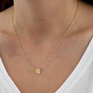 Golden stainless steel necklace with circular plate