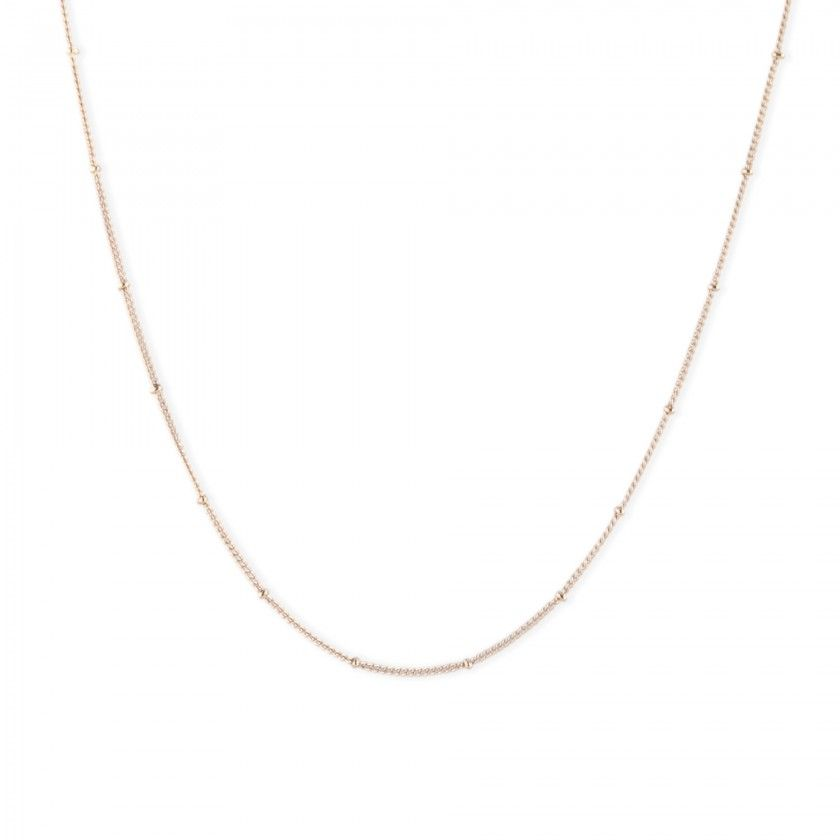 Golden stainless steel necklace with beads