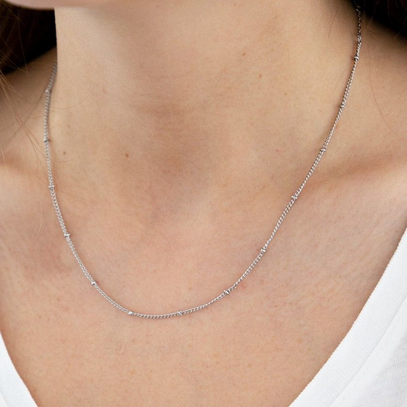 Silver stainless steel necklace with beads